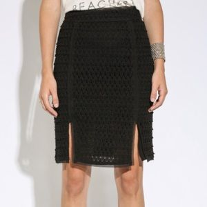 Moon River NWOT Black Crochet Pencil Skirt